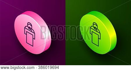 Isometric Line Gives Lecture Icon Isolated On Purple And Green Background. Stand Near Podium. Speak