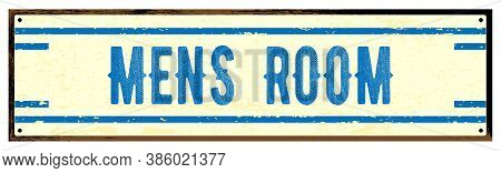 Old Worn Metal Mens Room Sign Isolated Over A White Background
