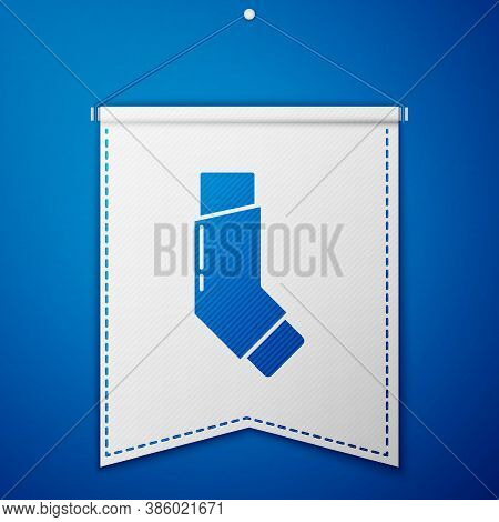 Blue Inhaler Icon Isolated On Blue Background. Breather For Cough Relief, Inhalation, Allergic Patie