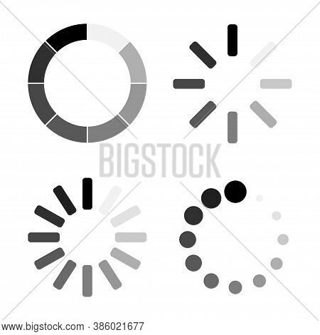 Loading. Loading Vector Icons Collection. Load Signs, Isolated. Vector Illustration