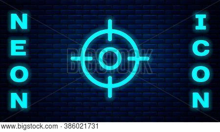 Glowing Neon Target Sport Icon Isolated On Brick Wall Background. Clean Target With Numbers For Shoo