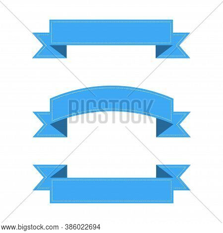 Ribbons Banners With White Lines. Blue Ribbons Banners, Isolated On White Background. Collection Of
