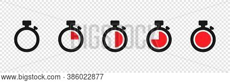 Timer Vector Icons On Transparent Background. Set Of Timer. Countdown Timer Vector Icons. Eps10