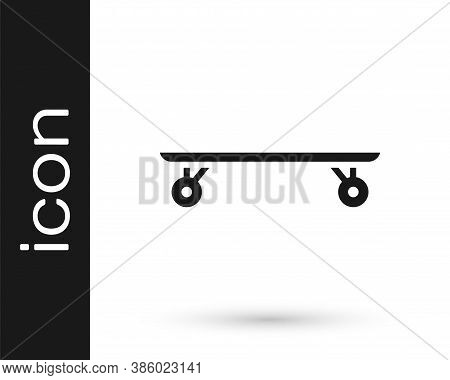 Grey Longboard Or Skateboard Cruiser Icon Isolated On White Background. Extreme Sport. Sport Equipme