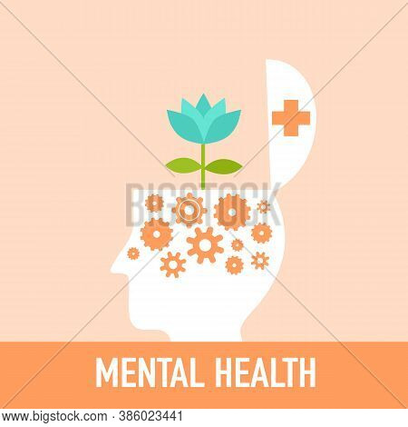 Silhouette Of Man's Head Opened With Gear Inside And Blue Flower Grownup. Mental Health Concept Vect
