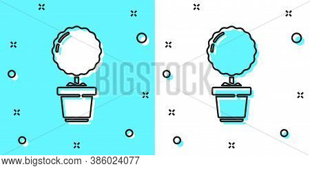 Black Line Plant In Pot Icon Isolated On Green And White Background. Plant Growing In A Pot. Potted