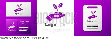 Logotype Plant In Hand Of Environmental Protection Icon Isolated On White Background. Seed And Seedl