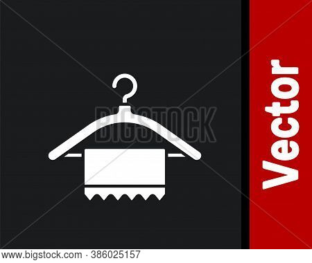 White Hanger Wardrobe Icon Isolated On Black Background. Clean Towel Sign. Cloakroom Icon. Clothes S