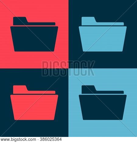 Pop Art Document Folder Icon Isolated On Color Background. Accounting Binder Symbol. Bookkeeping Man