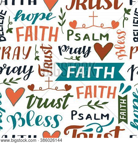 Seamless Pattern With Hand Lettering Words Faith, Trust, Psalm, Pray.
