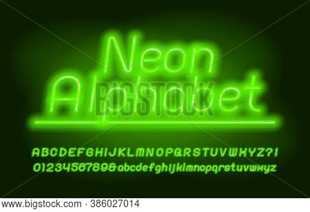 Neon Alphabet Font. Green Neon Light. Uppercase And Lowercase Letters And Numbers. Stock Vector Type