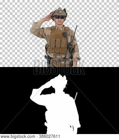 Soldier Ranger In Ammunition Saluting, Alpha Channel
