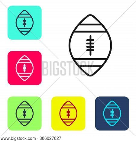 Black Line American Football Ball Icon Isolated On White Background. Rugby Ball Icon. Team Sport Gam