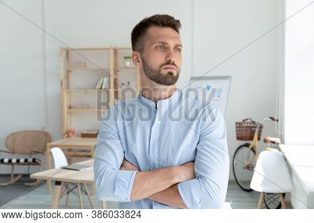 Head Shot Confident Young Businessman Startup Owner Pondering Strategy