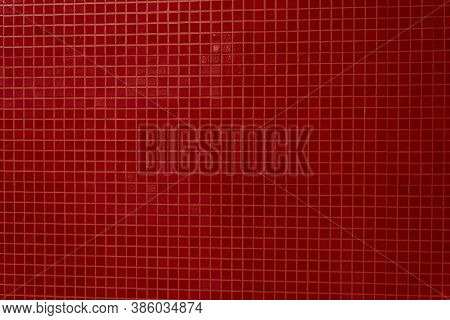 Red Square Background Mosaic For Facing The Walls Of The House, Bathroom, Kitchen, Tile Floor. Red M