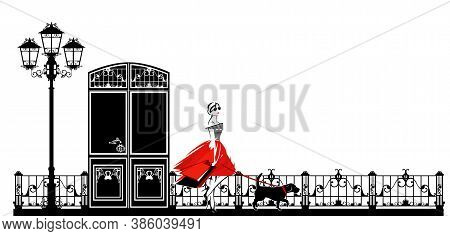 Beautiful Young Woman With Shopping Bags And Beagle Dog On The Leash - City Street Pet Walk Vector S