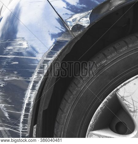 Dented Car. Vehicle Bumper Dent Broken By Car Crash. Road Accidents.
