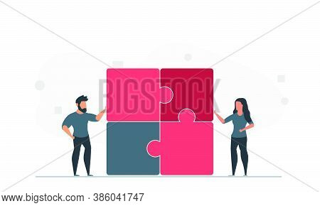 People Are Trying To Solve The Puzzle Together. Man And Woman Team Solve Problem Together Vector Ill