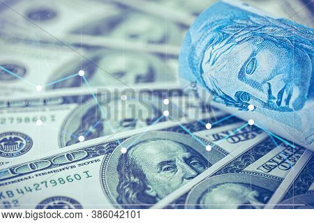 Stock Exchange, Devaluation Of The Brazilian Real Against The Us Dollar, Background Image Concept Of