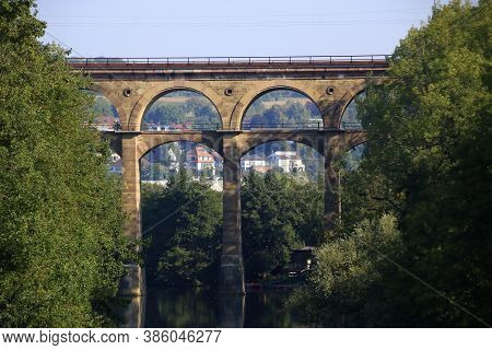 Enz Valley Viaduct Near Bietigheim Is Reflected In The Enz River