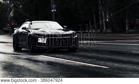 Tomsk, Russia - June 2, 2020: Chevrolet Camaro Zl1 The Exorcist Stands In The Middle Of The Street