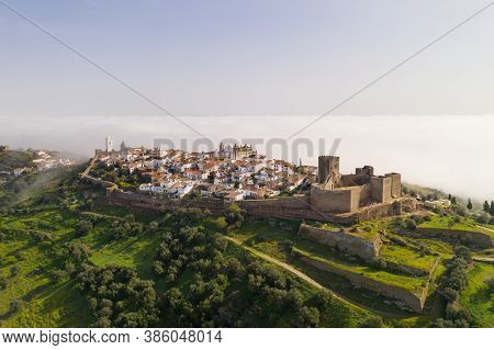 Monsaraz Drone Aerial View On The Clouds In Alentejo, Portugal