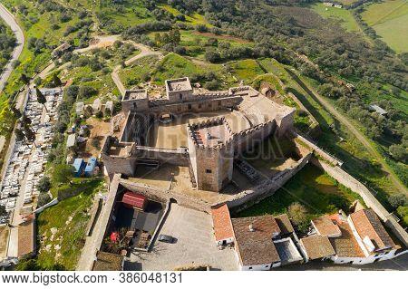 Monsaraz Drone Aerial Top View In Alentejo, Portugal