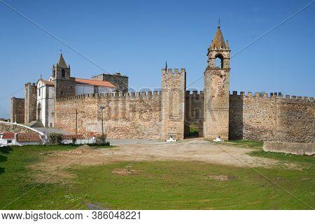 Mourao Castle Facade Entrance With Tower In Alentejo, Portugal