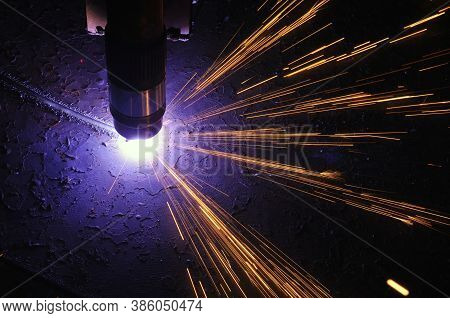 Metal Cutting. The Process Of Cutting Metal Using Plasma Cutting.