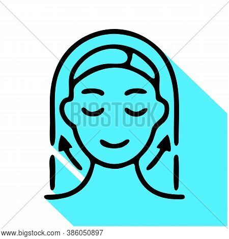 Aesthetic Cosmetology Line Icon, Vector Pictogram Of Facelift, Anti Age Massage. Hapy Woman Illustra