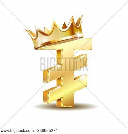 Mongolian Tugrik Currency Symbol With Golden Crown, Golden Money Sign
