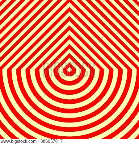 Stylized Wood Cutting Board Structure Motif. Symmetric Geometric Figures Abstract. Red Lines On Yell