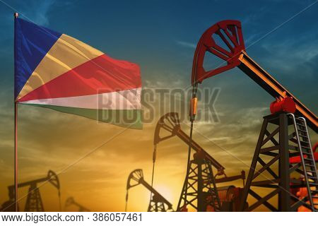 Seychelles Oil Industry Concept, Industrial Illustration. Fluttering Seychelles Flag And Oil Wells O
