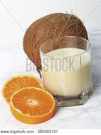 Coconut Smoothie With A Touch Of Tangerine