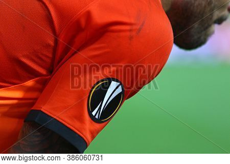 Kyiv, Ukraine - August 5, 2020: Uefa Europa League Logo On The Shakhtar Players Jersey Seen During T