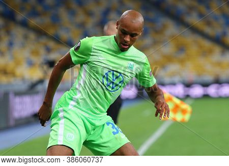 Kyiv, Ukraine - August 5, 2020: Winger Marcel Tisserand Of Vfl Wolfsburg In Action During The Uefa E