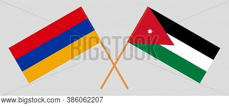 Crossed Flags Of Jordan And Armenia. Official Colors. Correct Proportion. Vector Illustration