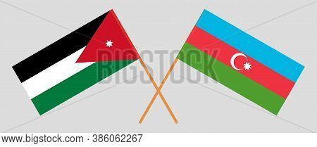 Crossed Flags Of Jordan And Azerbaijan. Official Colors. Correct Proportion. Vector Illustration