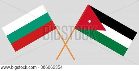 Crossed Flags Of Jordan And Bulgaria. Official Colors. Correct Proportion. Vector Illustration