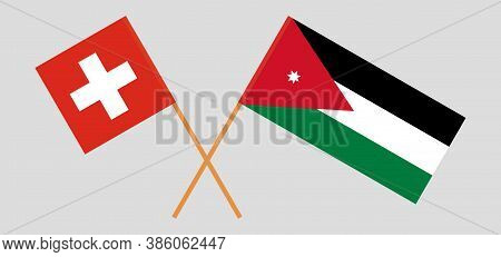 Crossed Flags Of Jordan And Switzerland. Official Colors. Correct Proportion. Vector Illustration