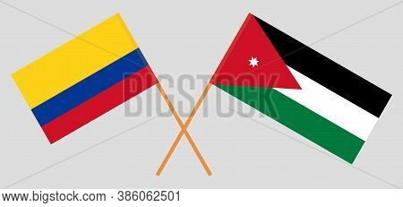 Crossed Flags Of Jordan And Colombia. Official Colors. Correct Proportion. Vector Illustration