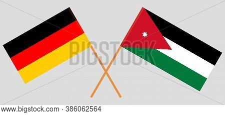 Crossed Flags Of Jordan And Germany. Official Colors. Correct Proportion. Vector Illustration