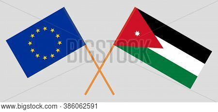 Crossed Flags Of Jordan And The Eu. Official Colors. Correct Proportion. Vector Illustration