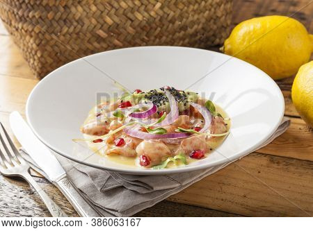 Peruvian Food. Delicious Dish Of Fish Marinated In Oranges And Lime.