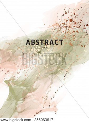 Watercolor Vector Abstract Splash Background. Watercolour Stain Earth Tone Paint, Sage Green Beige A