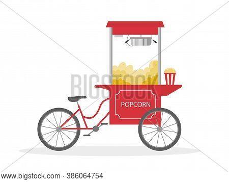 Popcorn Bicycle, Cartoon Popcorn Cart, Street Food. Vector Illustration.