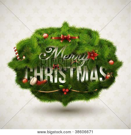 """Merry Christmas"", Creative label. Vector Illustration."