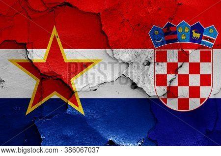Historical Flag Of Socialist Republic Of Croatia And Today Croatia Flag On Cracked Wall