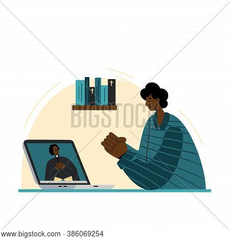 The Pastor Conducts Church Services Online. Concept Church And Liturgy Online. African American Man