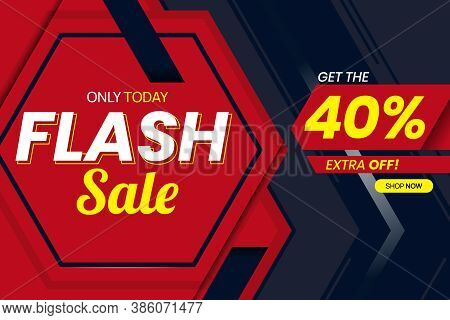 Vector Graphic Of Modern Flash Sale 40 Percent Banner Template. Perfect For Retail, Brochure, Banner